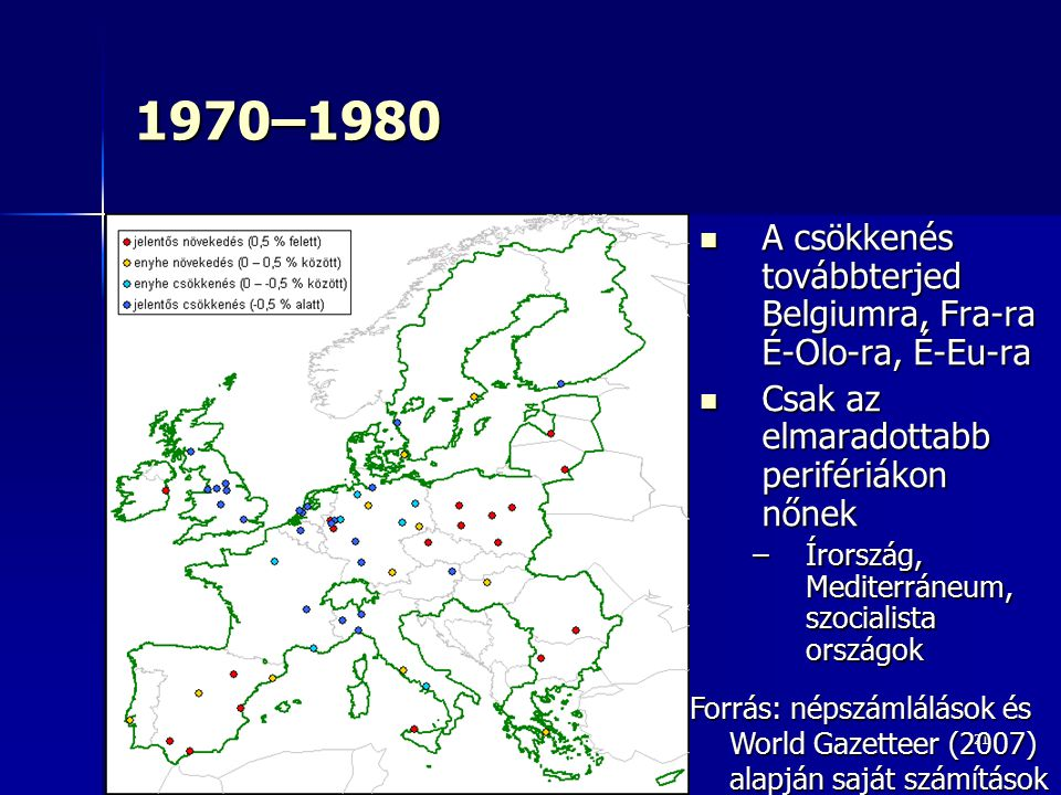 1970–1980 A csökkenés továbbterjed Belgiumra, Fra-ra É-Olo-ra, É-Eu-ra