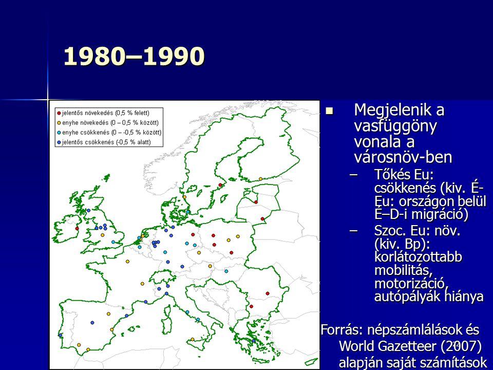 1980–1990 Megjelenik a vasfüggöny vonala a városnöv-ben