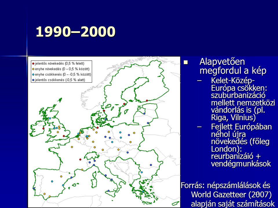 1990–2000 Alapvetően megfordul a kép