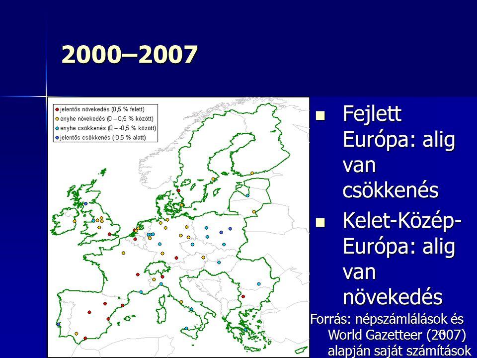 2000–2007 Fejlett Európa: alig van csökkenés