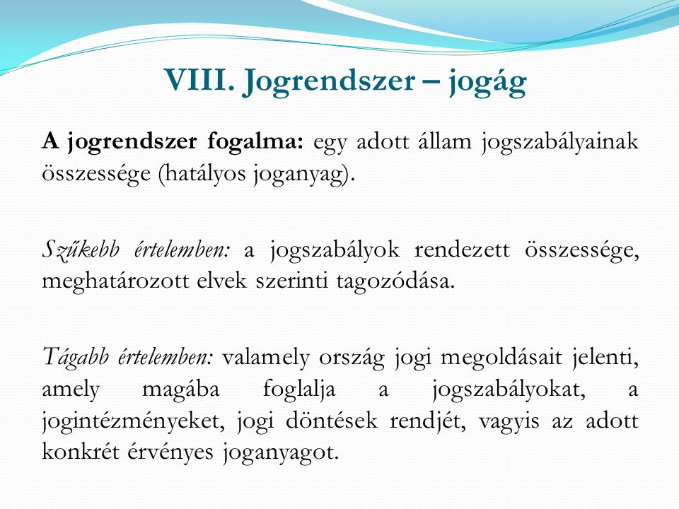 VIII. Jogrendszer – jogág