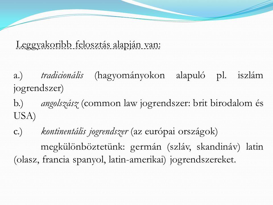 a.) tradicionális (hagyományokon alapuló pl. iszlám jogrendszer)