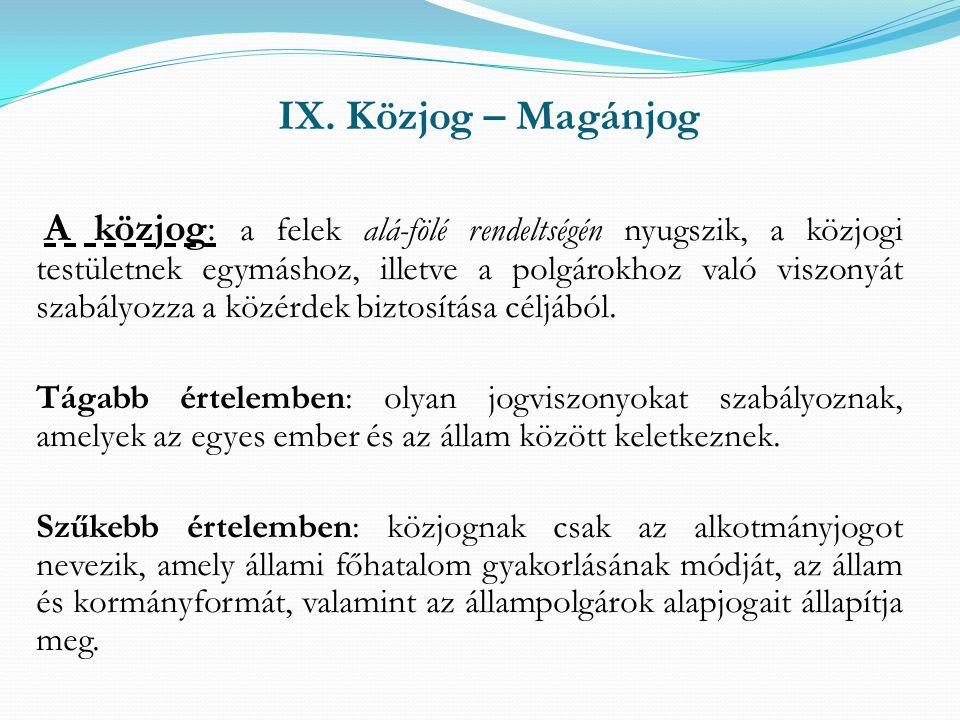 IX. Közjog – Magánjog