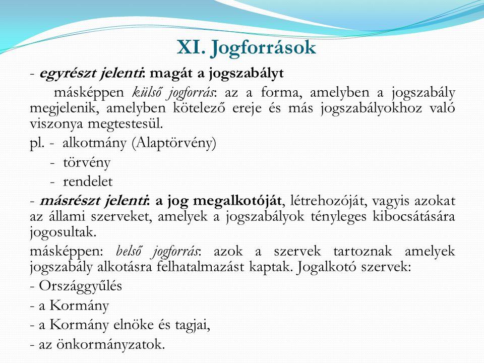 XI. Jogforrások