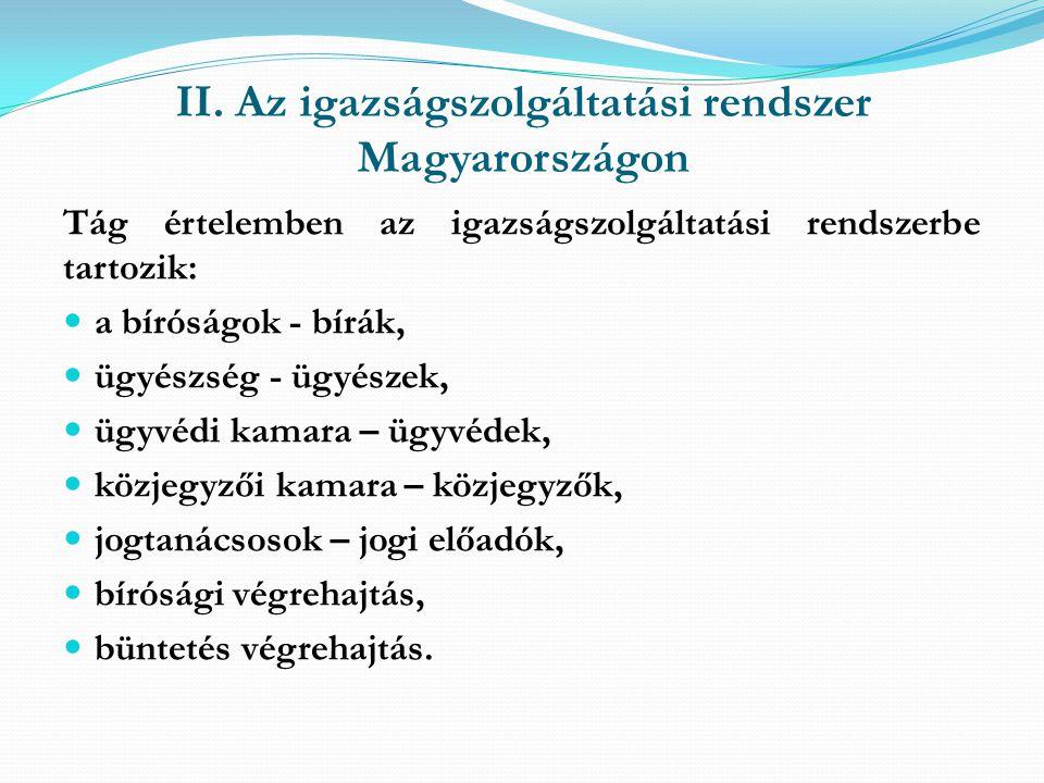 II. Az igazságszolgáltatási rendszer Magyarországon