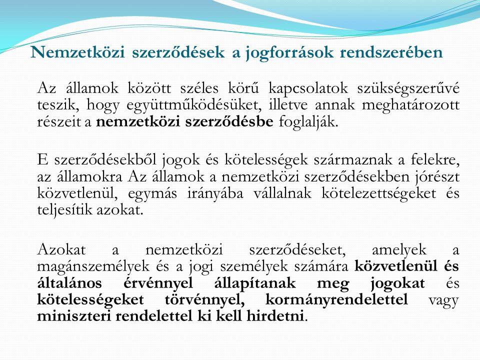 Nemzetközi szerződések a jogforrások rendszerében