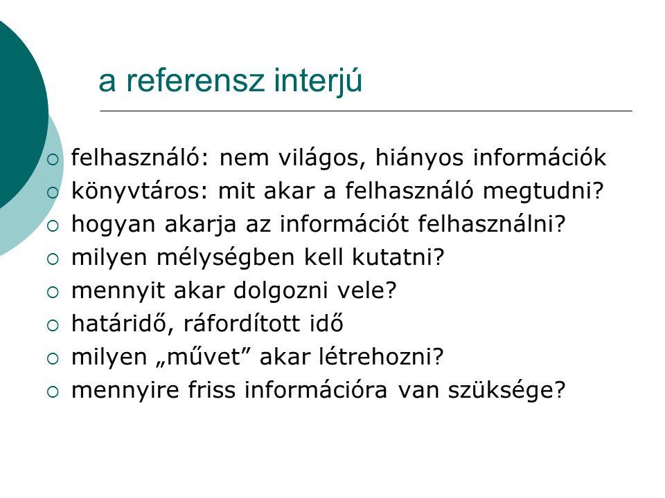 a referensz interjú felhasználó: nem világos, hiányos információk
