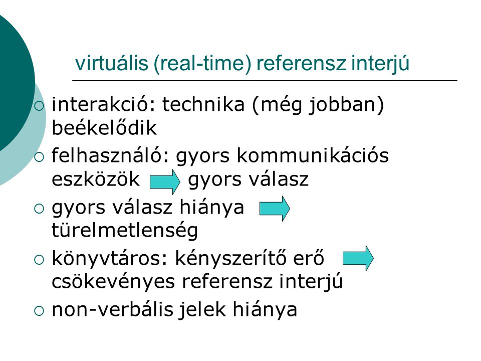 virtuális (real-time) referensz interjú