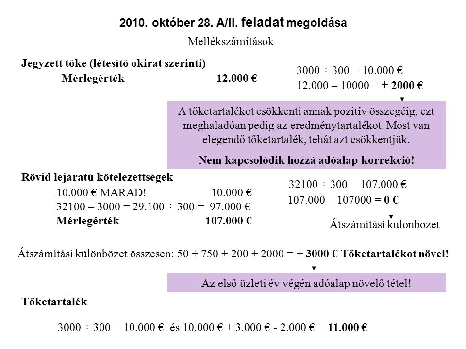 2010. október 28. A/II. feladat megoldása