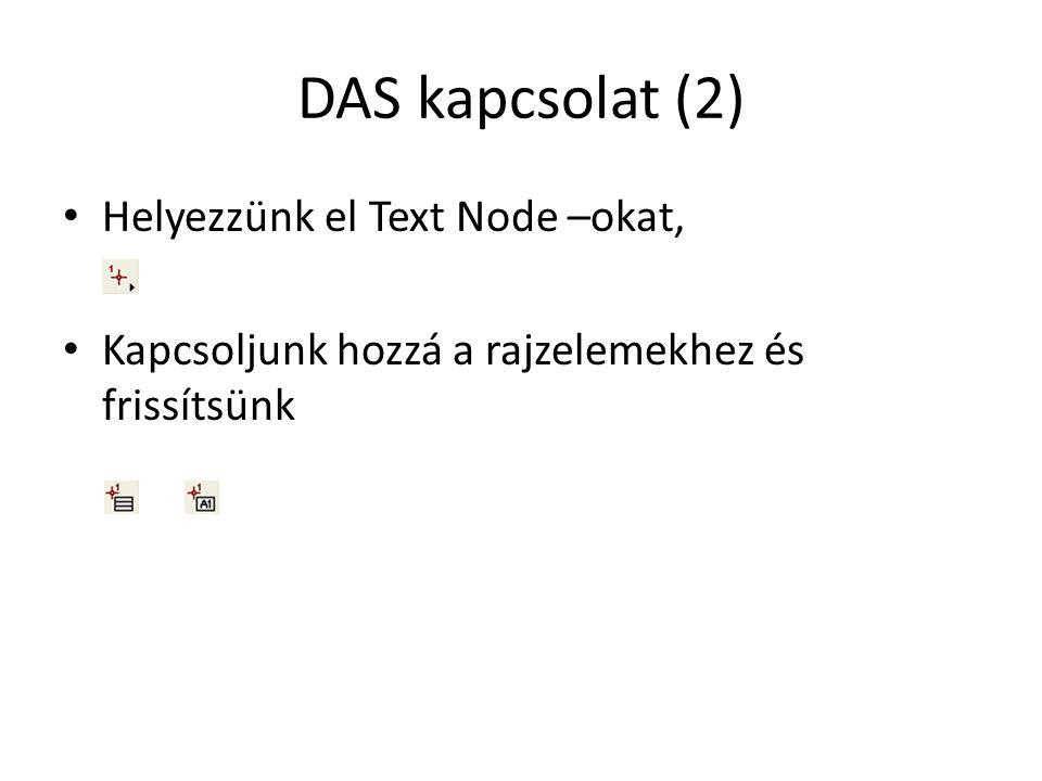 DAS kapcsolat (2) Helyezzünk el Text Node –okat,