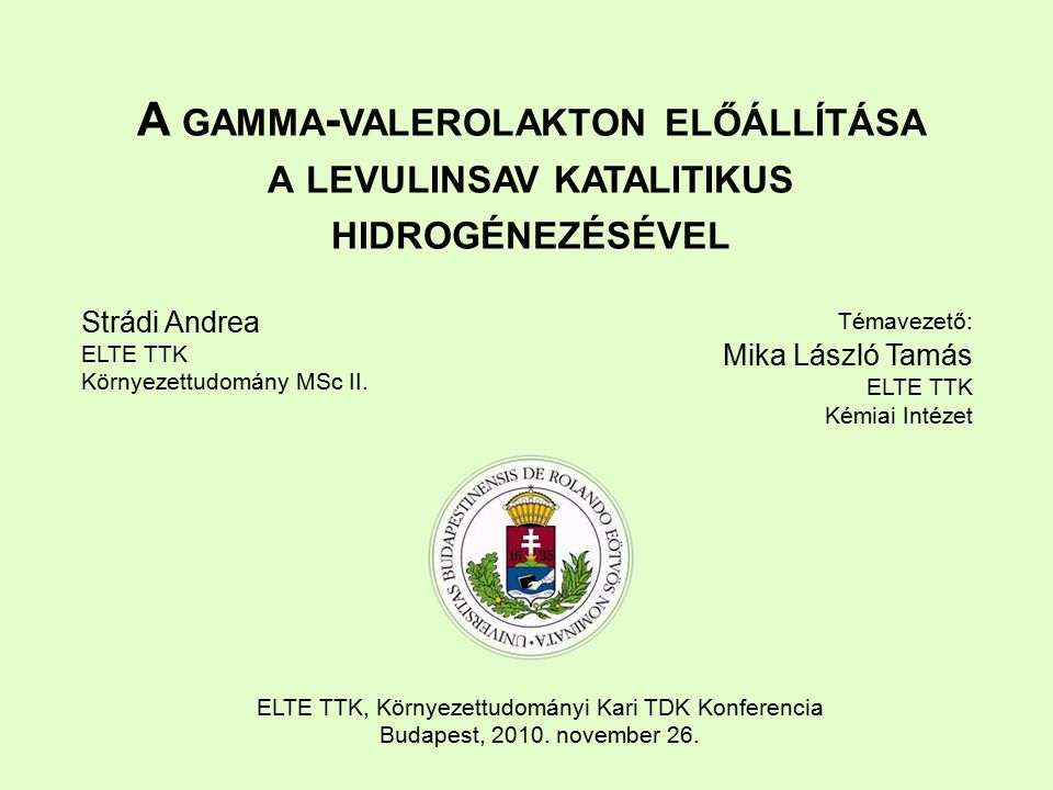 Strádi Andrea ELTE TTK Környezettudomány MSc II.