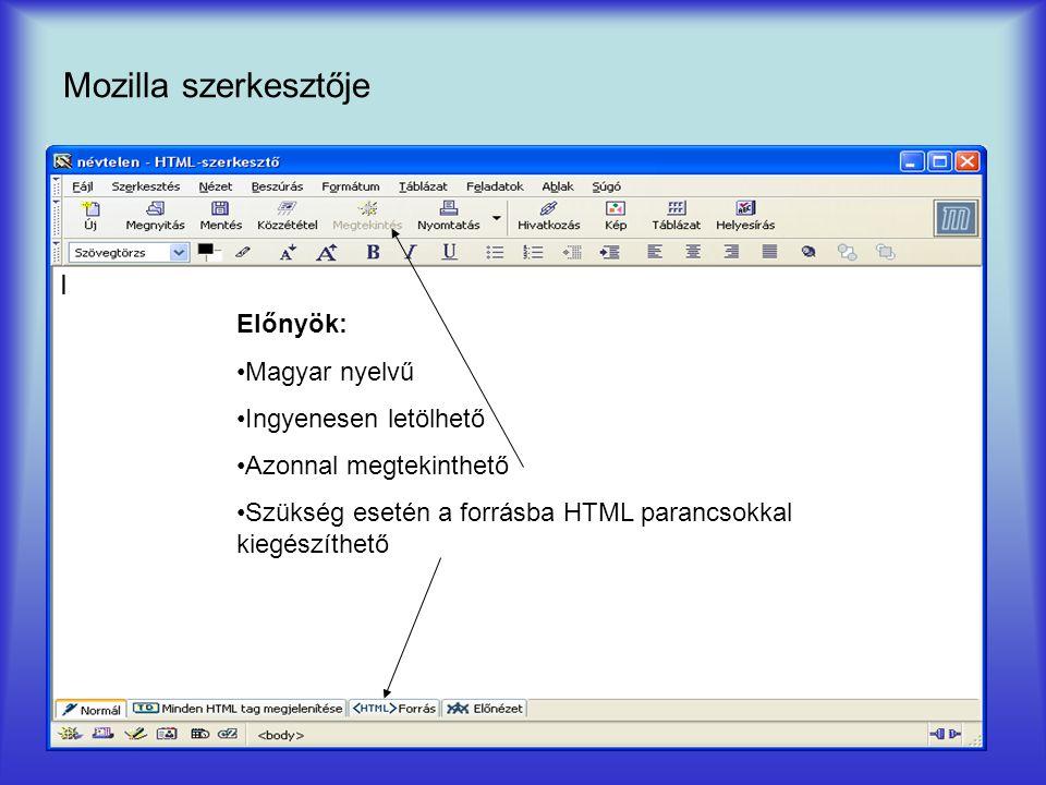 Mozilla szerkesztője Előnyök: Magyar nyelvű Ingyenesen letölhető