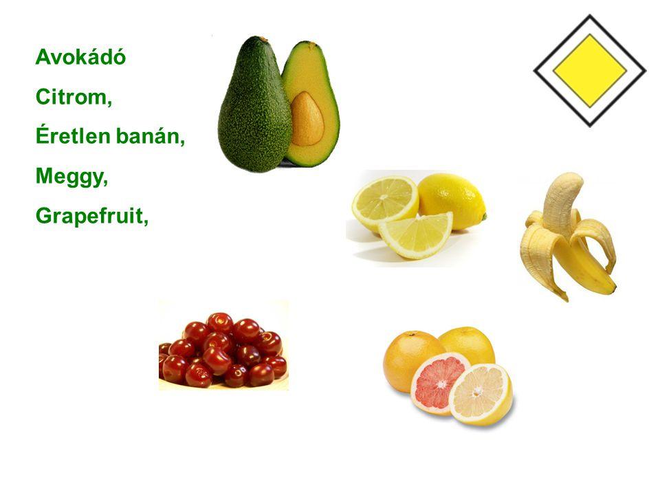 Avokádó Citrom, Éretlen banán, Meggy, Grapefruit,