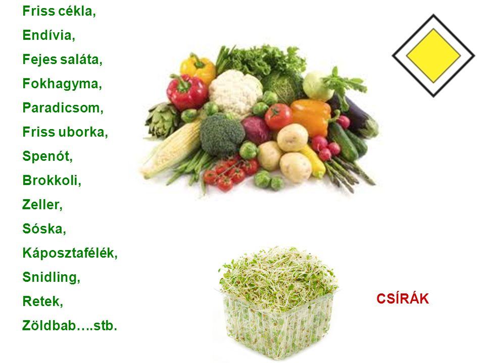 Friss cékla, Endívia, Fejes saláta, Fokhagyma, Paradicsom, Friss uborka, Spenót, Brokkoli, Zeller,