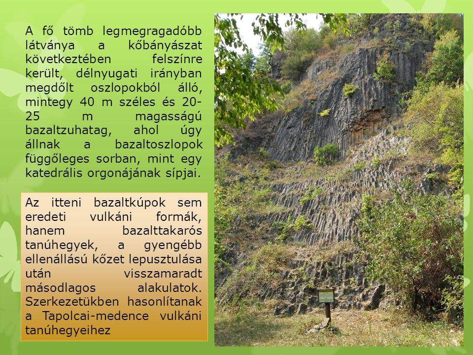 A fő tömb legmegragadóbb látványa a kőbányászat következtében felszínre került, délnyugati irányban megdőlt oszlopokból álló, mintegy 40 m széles és 20-25 m magasságú bazaltzuhatag, ahol úgy állnak a bazaltoszlopok függőleges sorban, mint egy katedrális orgonájának sípjai.