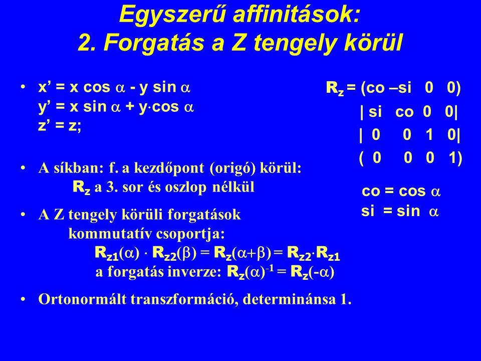 Egyszerű affinitások: 2. Forgatás a Z tengely körül