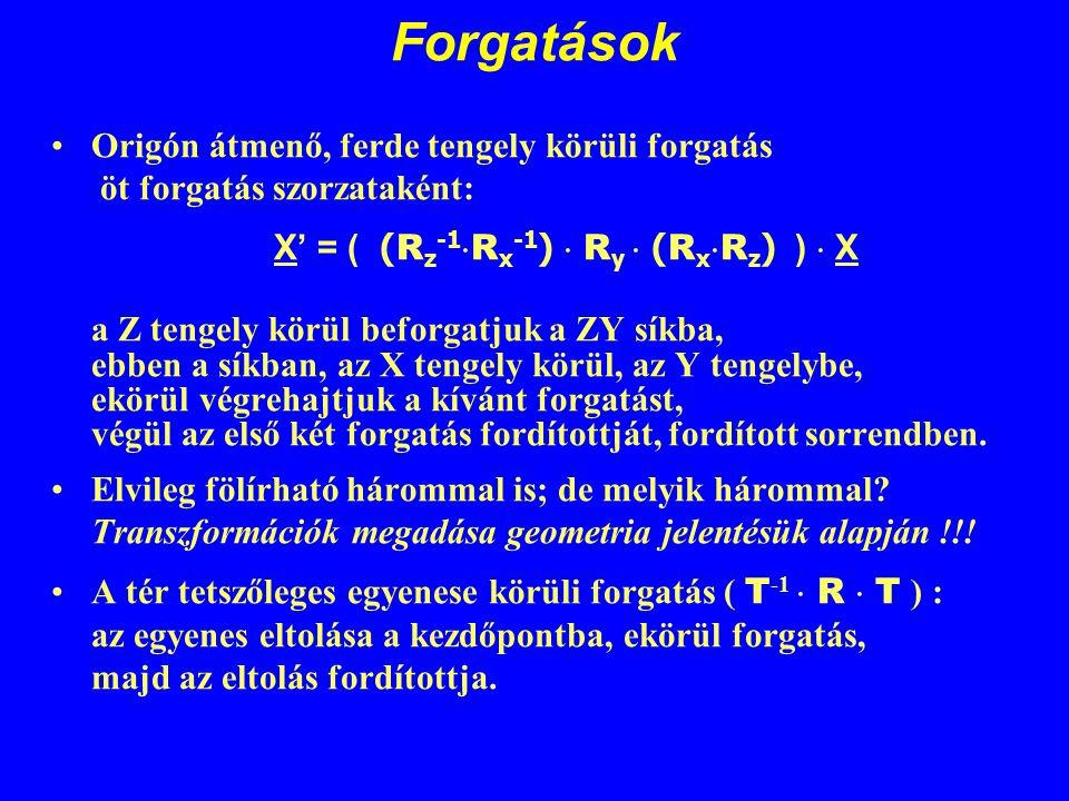 Forgatások Origón átmenő, ferde tengely körüli forgatás öt forgatás szorzataként: X' = ( (Rz-1Rx-1)  Ry  (RxRz) )  X.