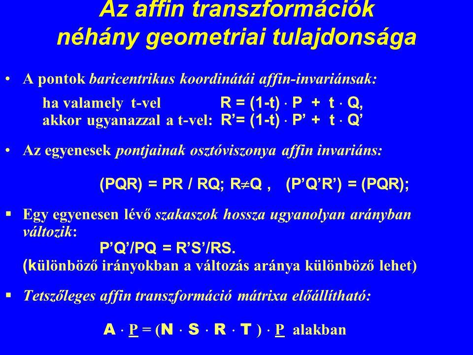 Az affin transzformációk néhány geometriai tulajdonsága