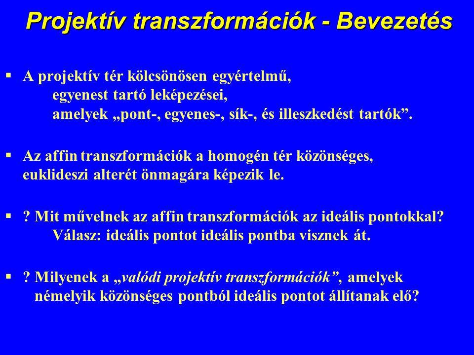 Projektív transzformációk - Bevezetés