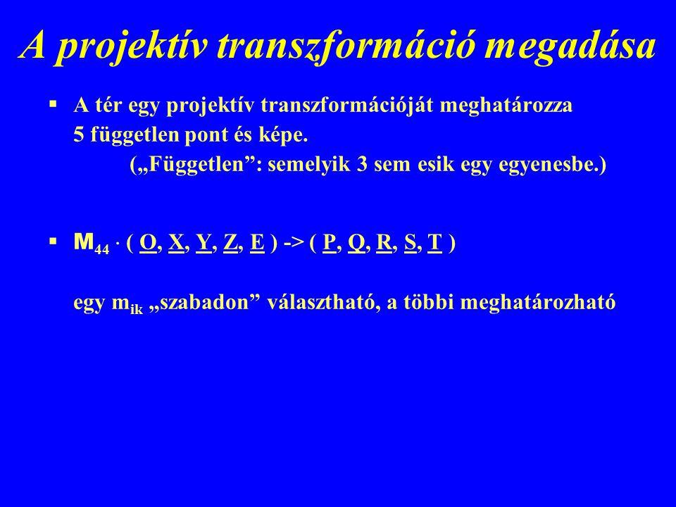A projektív transzformáció megadása