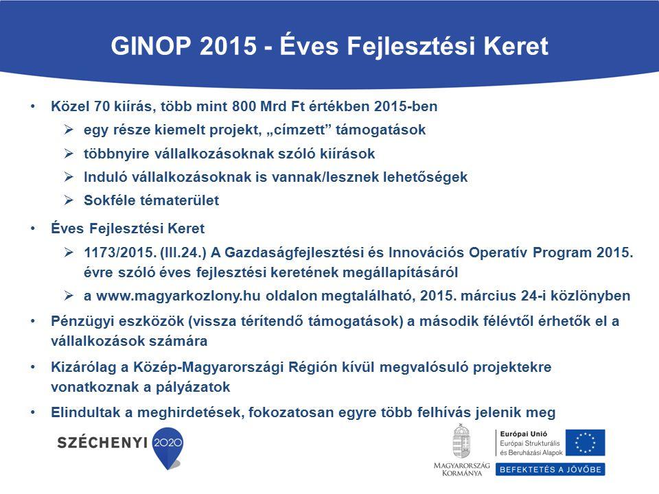 GINOP 2015 - Éves Fejlesztési Keret