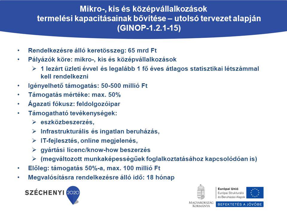 Mikro-, kis és középvállalkozások termelési kapacitásainak bővítése – utolsó tervezet alapján (GINOP-1.2.1-15)