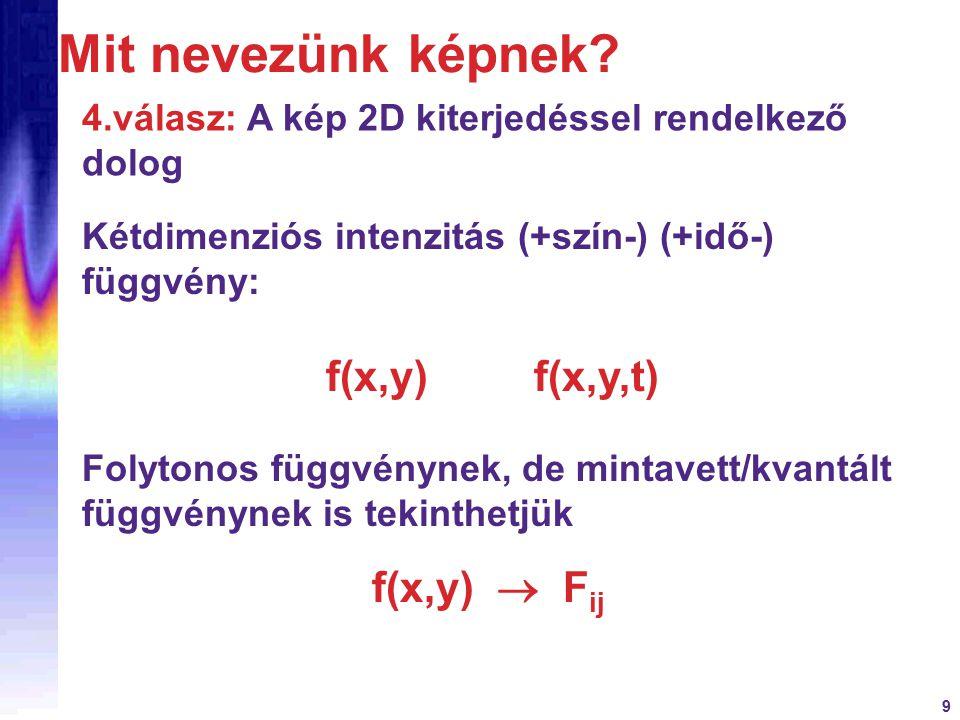 Mit nevezünk képnek f(x,y)  Fij