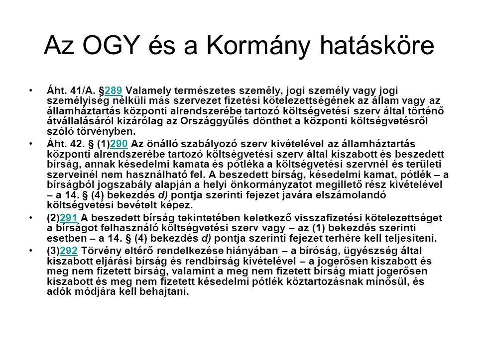 Az OGY és a Kormány hatásköre