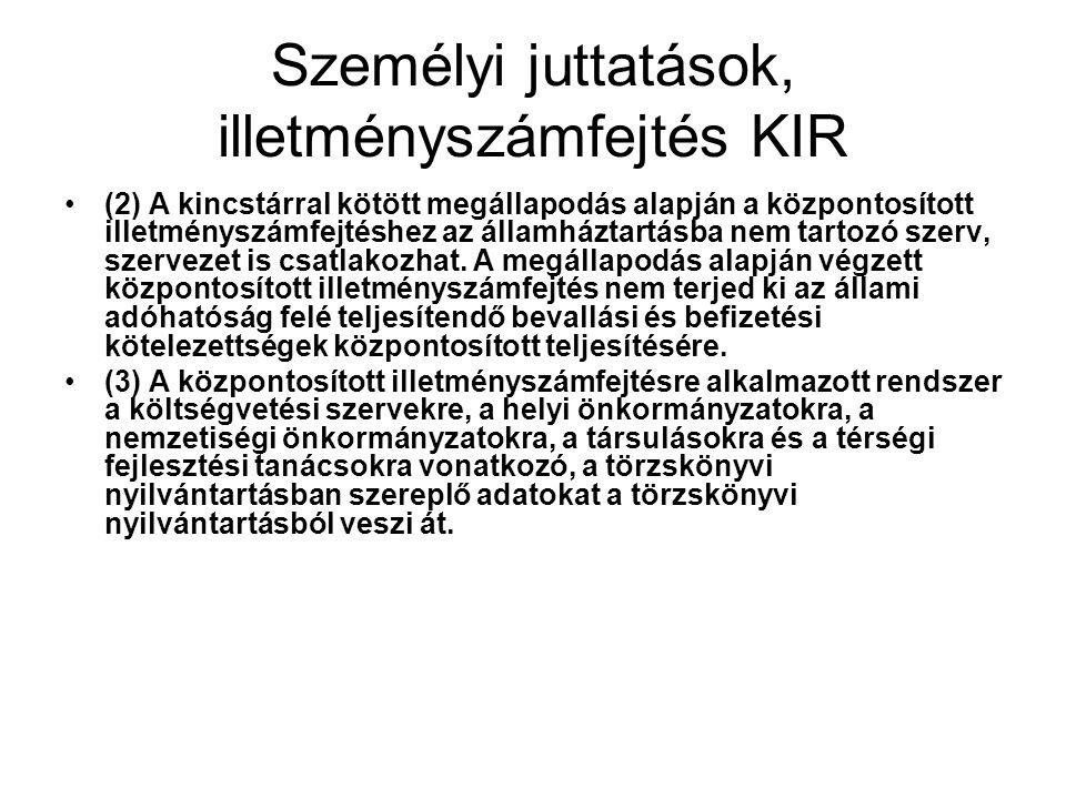 Személyi juttatások, illetményszámfejtés KIR