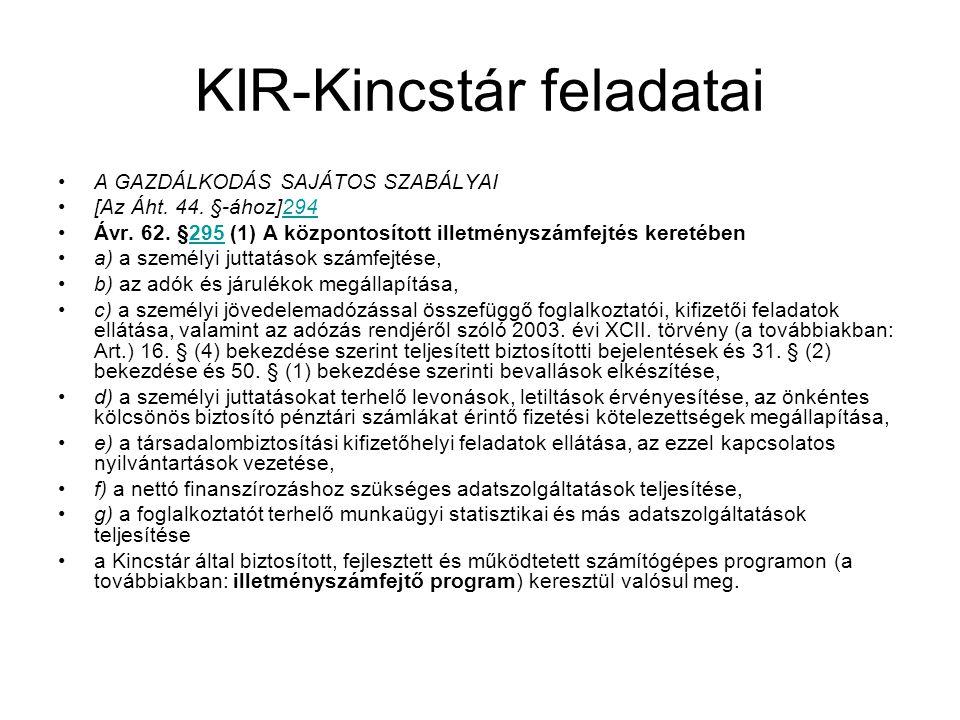 KIR-Kincstár feladatai