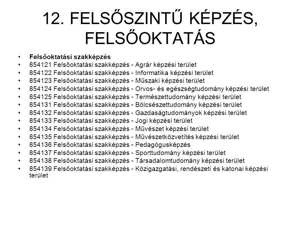 12. FELSŐSZINTŰ KÉPZÉS, FELSŐOKTATÁS