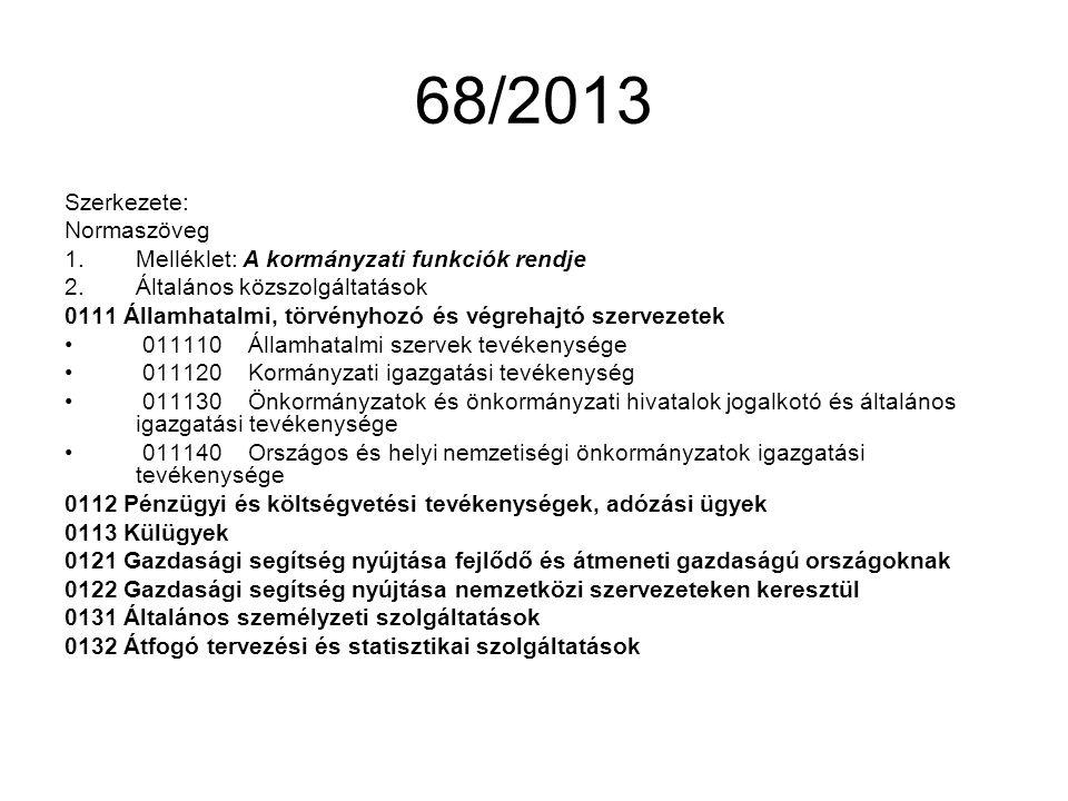 68/2013 Szerkezete: Normaszöveg