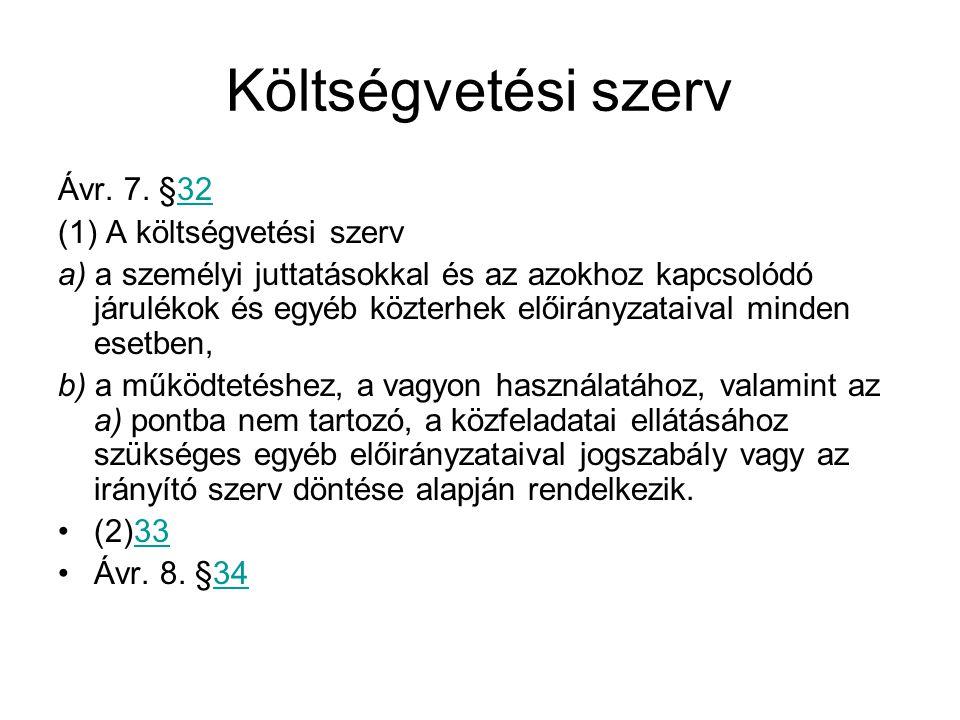 Költségvetési szerv Ávr. 7. §32 (1) A költségvetési szerv