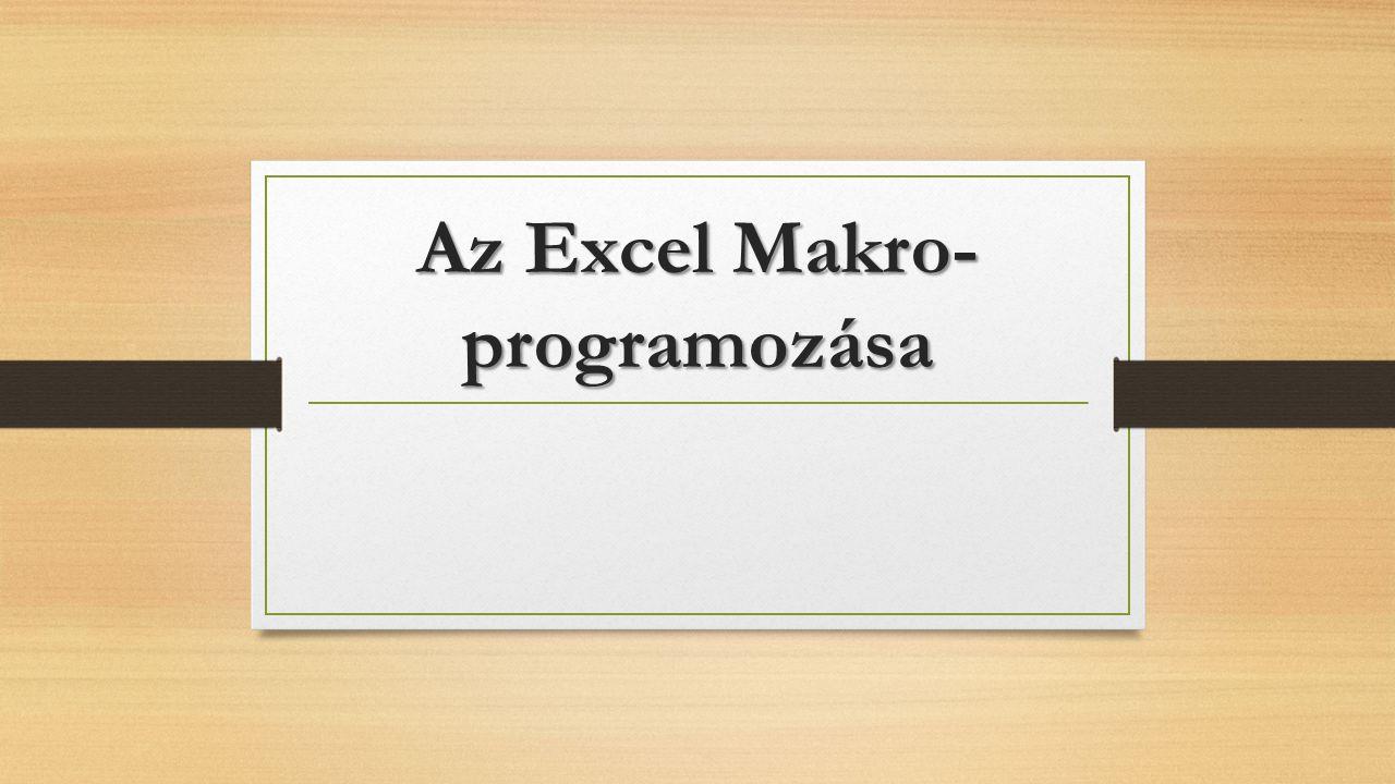 Az Excel Makro-programozása
