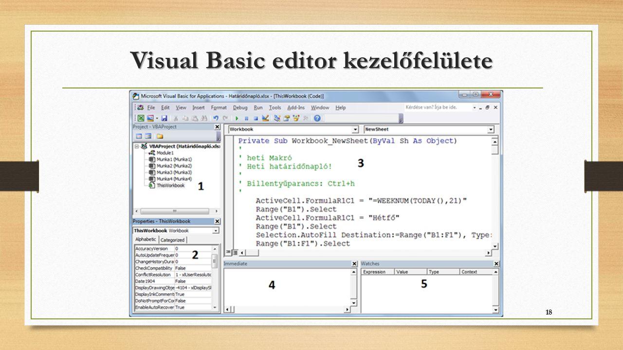 Visual Basic editor kezelőfelülete