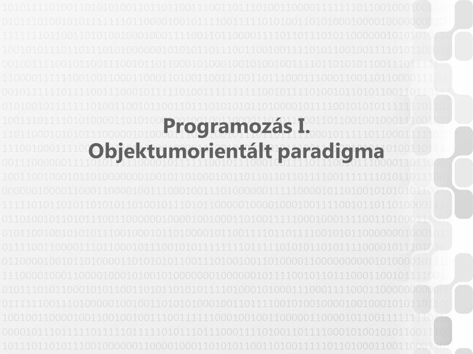 Programozás I. Objektumorientált paradigma