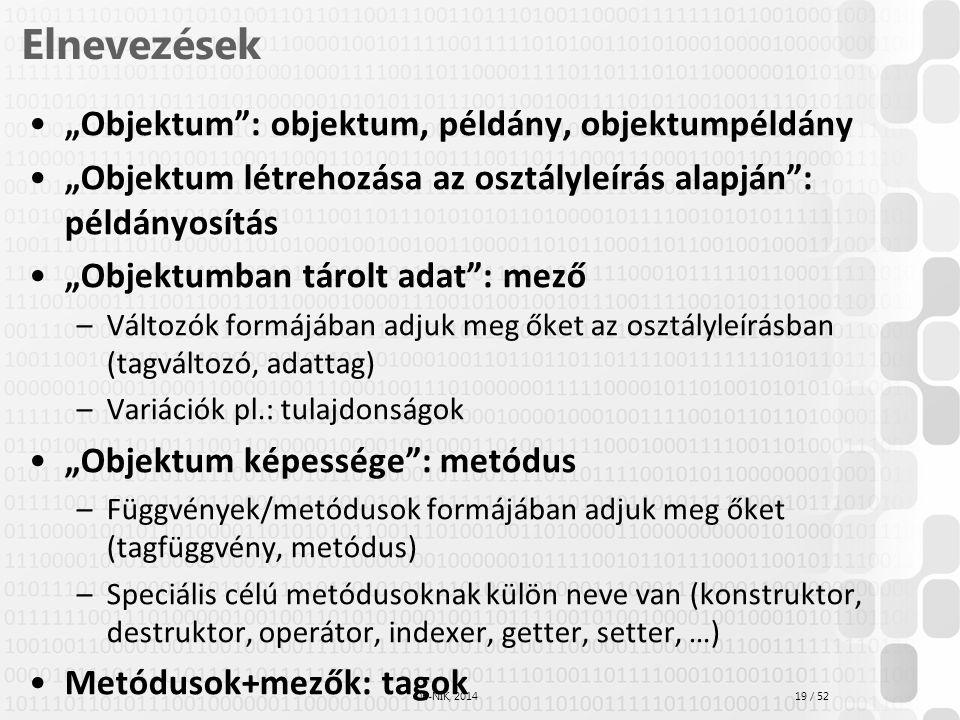 """Elnevezések """"Objektum : objektum, példány, objektumpéldány"""