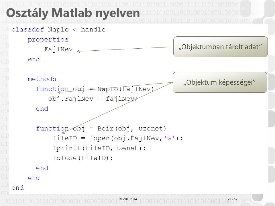 Osztály Matlab nyelven