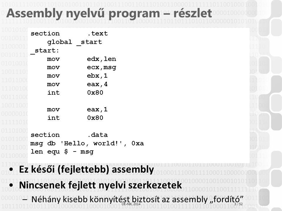 Assembly nyelvű program – részlet