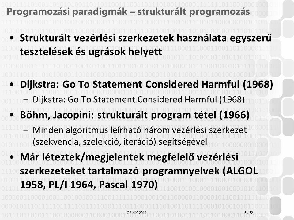Programozási paradigmák – strukturált programozás