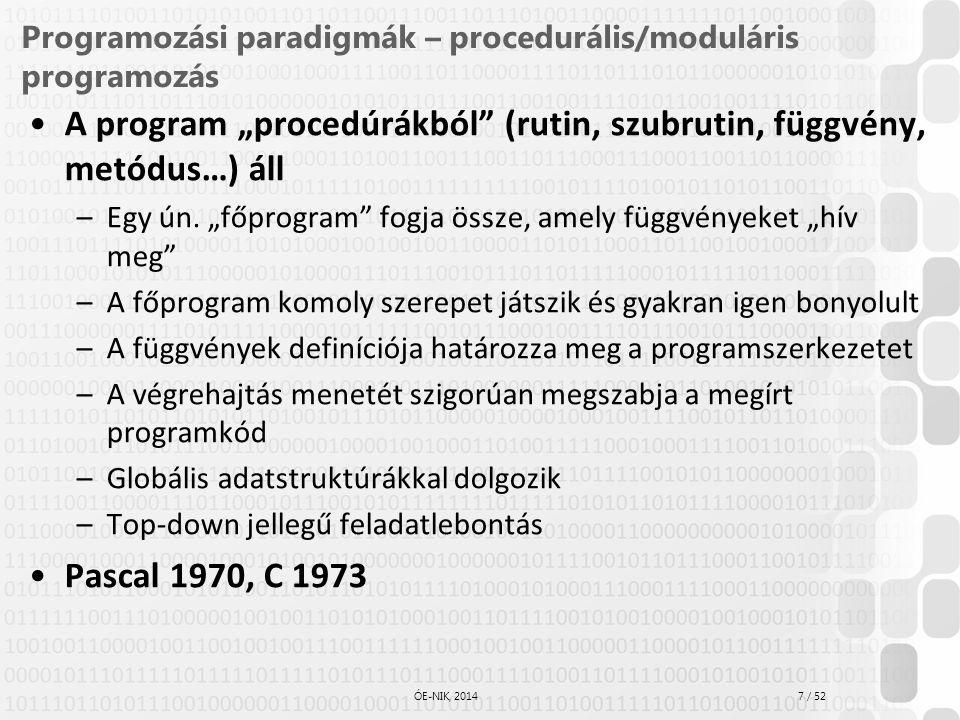 Programozási paradigmák – procedurális/moduláris programozás