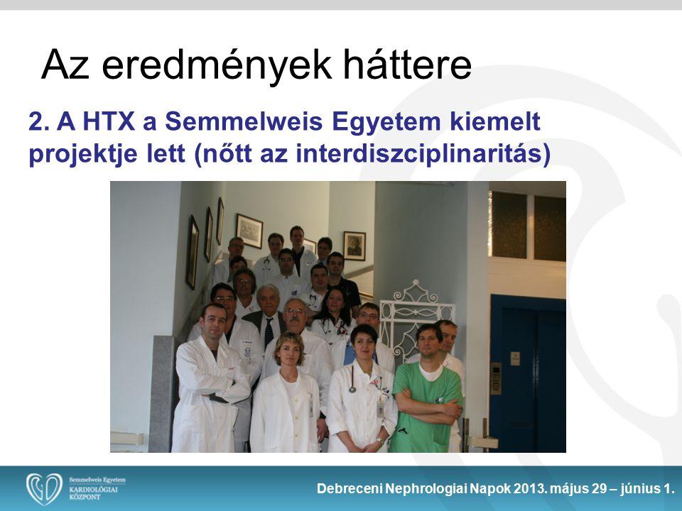 Az eredmények háttere 2. A HTX a Semmelweis Egyetem kiemelt projektje lett (nőtt az interdiszciplinaritás)