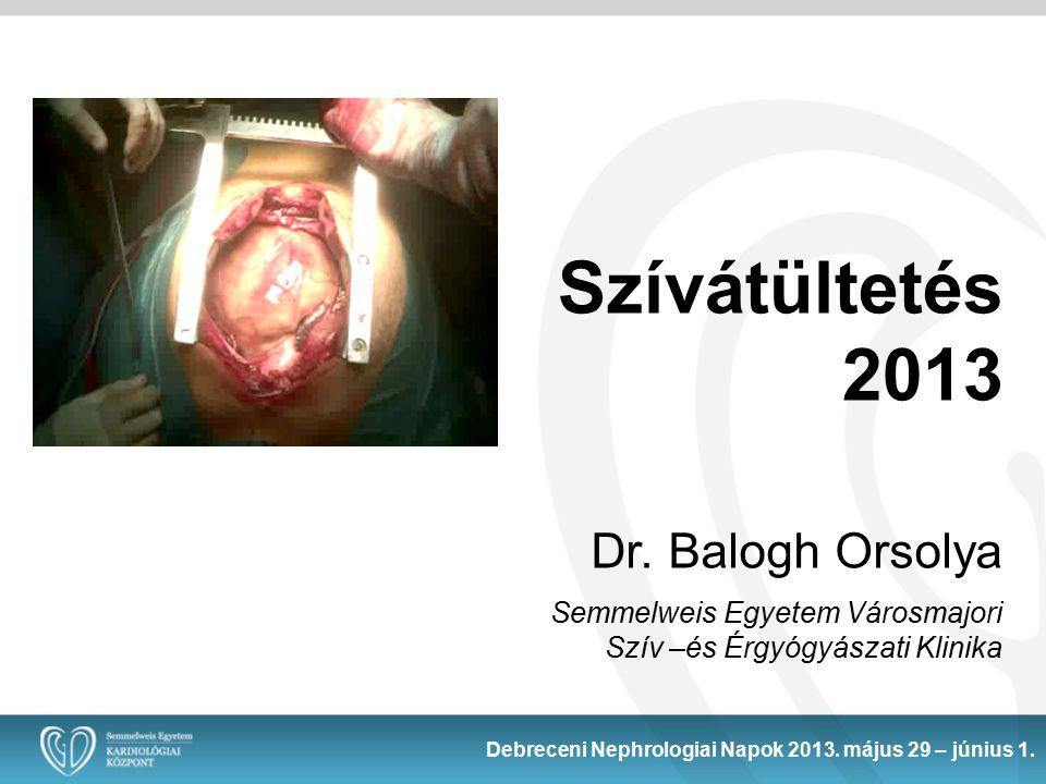 Szívátültetés 2013 Dr. Balogh Orsolya Semmelweis Egyetem Városmajori