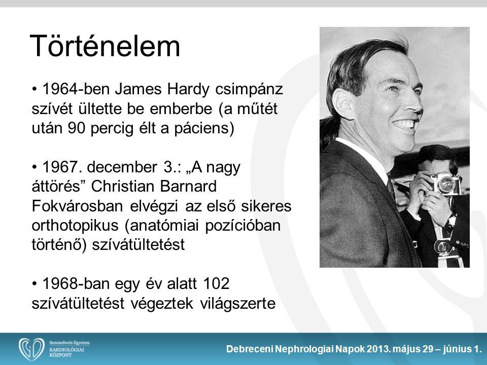 Történelem 1964-ben James Hardy csimpánz szívét ültette be emberbe (a műtét után 90 percig élt a páciens)
