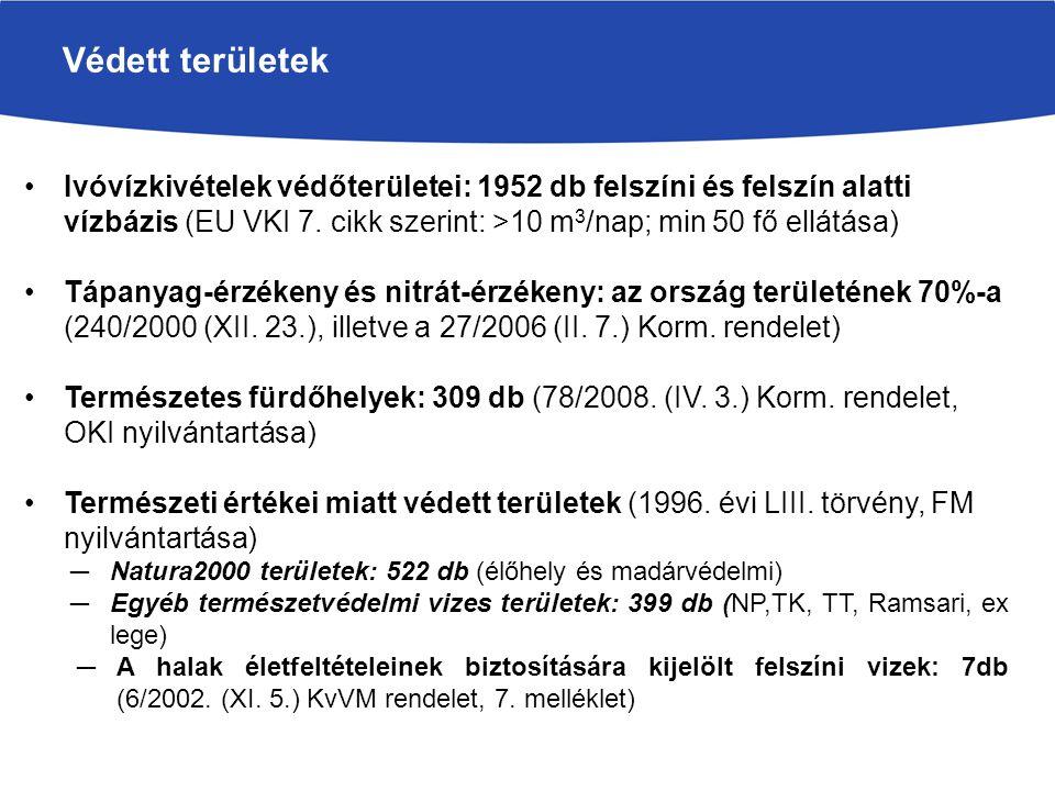 Védett területek Ivóvízkivételek védőterületei: 1952 db felszíni és felszín alatti vízbázis (EU VKI 7. cikk szerint: >10 m3/nap; min 50 fő ellátása)