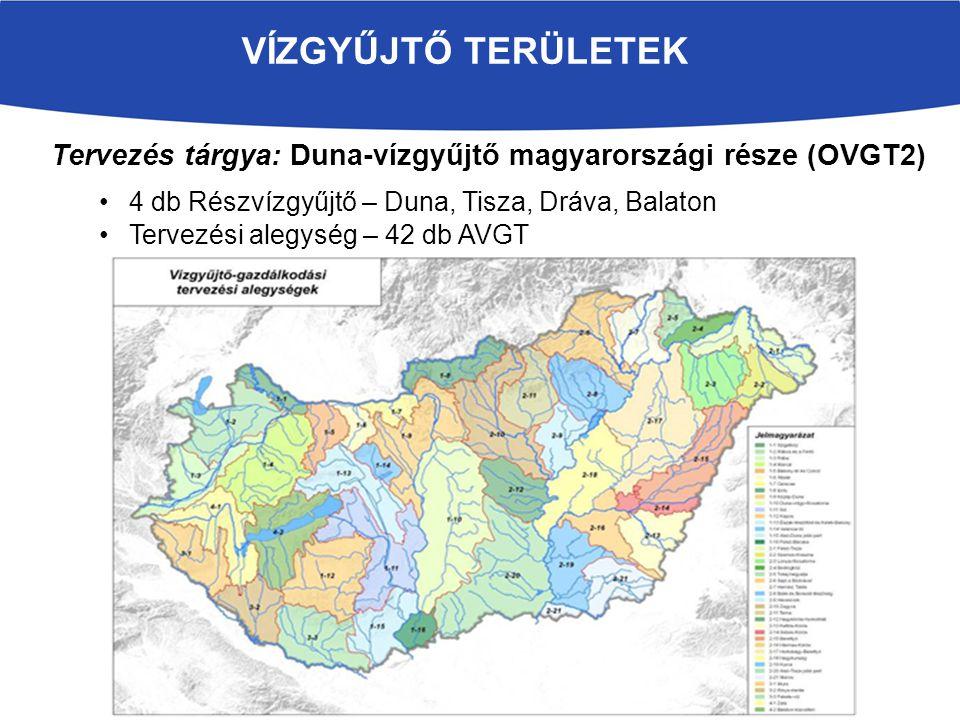 VÍZGYŰJTŐ TERÜLETEK Tervezés tárgya: Duna-vízgyűjtő magyarországi része (OVGT2) 4 db Részvízgyűjtő – Duna, Tisza, Dráva, Balaton.