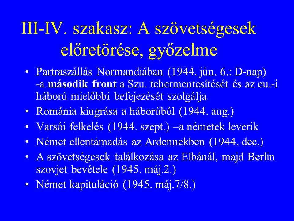 III-IV. szakasz: A szövetségesek előretörése, győzelme