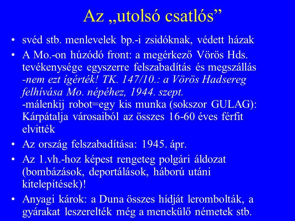 """Az """"utolsó csatlós svéd stb. menlevelek bp.-i zsidóknak, védett házak"""