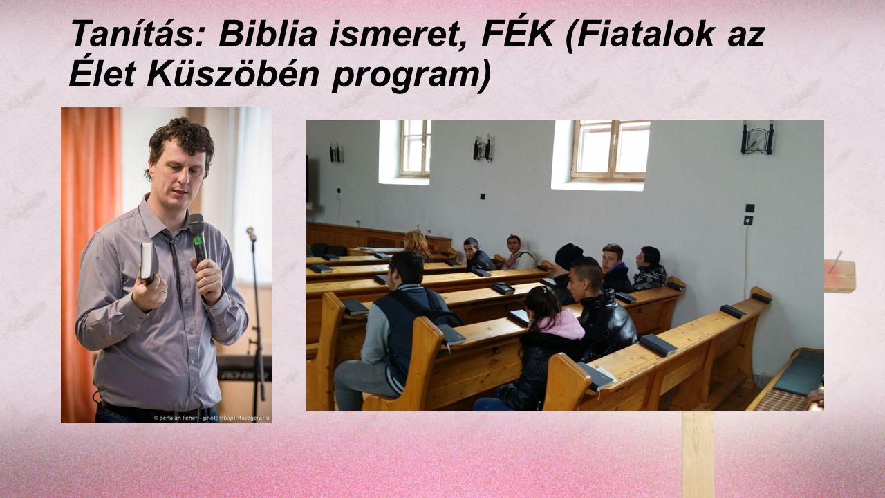 Tanítás: Biblia ismeret, FÉK (Fiatalok az Élet Küszöbén program)