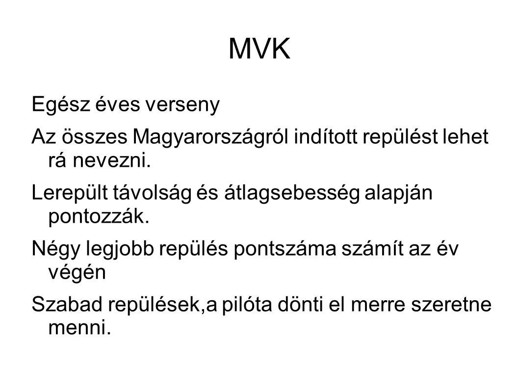 MVK Egész éves verseny. Az összes Magyarországról indított repülést lehet rá nevezni. Lerepült távolság és átlagsebesség alapján pontozzák.